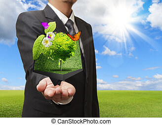 ビジネスマン, 保有物, a, 創造的, 箱, の, 木, 中に, 彼の, 手, ∥で∥, 緑の採草地, 上に, ∥, 背景