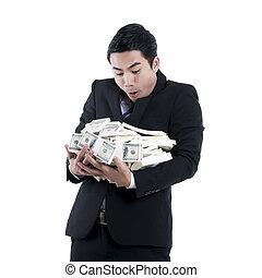 ビジネスマン, 保有物, a, 大きい, 大量の金, 中に, 彼の, 腕, 白, 背景