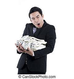 ∥, ビジネスマン, 保有物, a, 大きい, 大量の金, 中に, 彼の, 腕, 白, 背景