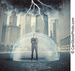 ビジネスマン, 保護される, から, ∥, 危機