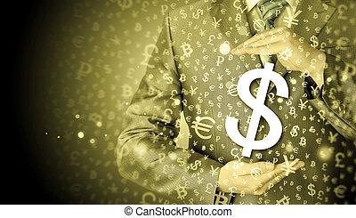 ビジネスマン, 保護, ドルシンボル