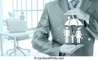 ビジネスマン, 保護, 家族, 保険, 概念