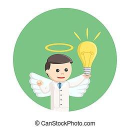 ビジネスマン, 円, 背景, 考え, 天使