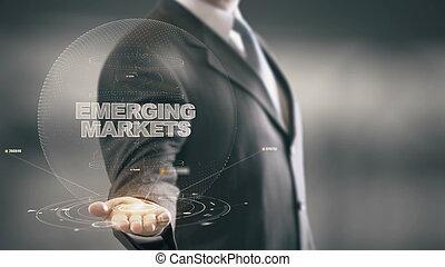 ビジネスマン, 出現する, 概念, 市場, ホログラム