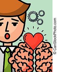ビジネスマン, 創造性, 漫画, 愛, 脳