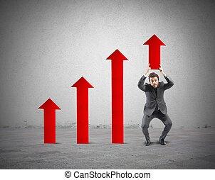 ビジネスマン, 助け, 統計値