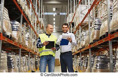 ビジネスマン, 労働者, 倉庫, クリップボード
