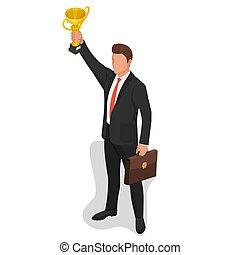 ビジネスマン, 勝者, チャンピオン, 上昇, カップ
