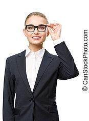 ビジネスマン, 半分長さ, ガラス, 女性, 肖像画