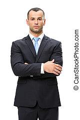 ビジネスマン, 半分長さ, 交差させた 腕, 肖像画