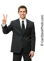 ビジネスマン, 半分長さ, 勝利, ジェスチャーで表現する, 肖像画