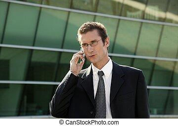 ビジネスマン, 呼出しを すること, on-the-go
