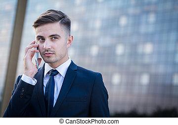 ビジネスマン, 呼出し, 持つこと, 電話