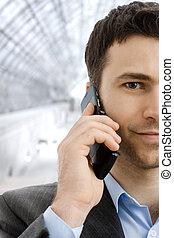 ビジネスマン, 呼出し, 電話