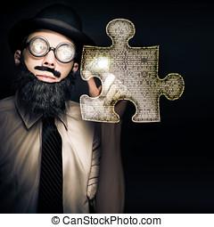 ビジネスマン, 困惑, 解決, ∥で∥, デジタル, 解決