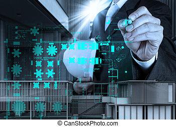 ビジネスマン, 図画, 建設, 内部, サイト, 手