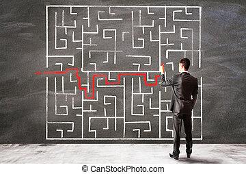 ビジネスマン, 図画, 解決