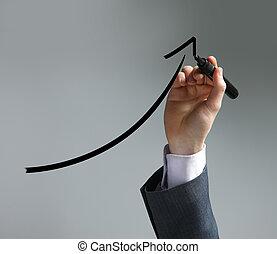ビジネスマン, 図画, a, uptrend, チャート, 上に, スクリーン