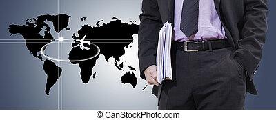 ビジネスマン, 地図, ビジネス, 世界