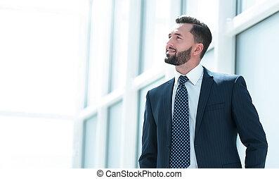 ビジネスマン, 夢を見ること, オフィス, 地位, 新しい