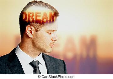ビジネスマン, 夢, テキスト