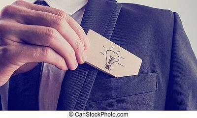 ビジネスマン, 大きいアイデア, 創造的