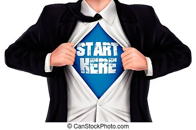 ビジネスマン, 始めなさい, ワイシャツ, 提示, 彼の, 下に, 言葉, ここに