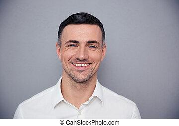 ビジネスマン, 幸せ, 若い, 肖像画