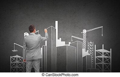 ビジネスマン, 建設, 都市, サイト, 図画