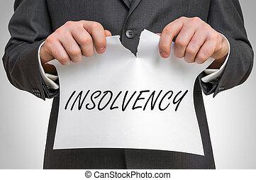 ビジネスマン, 引き裂くこと, ペーパー, 単語, 破産