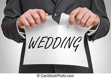 ビジネスマン, 引き裂くこと, ペーパー, 単語, 結婚式