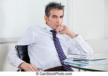 ビジネスマン, 弛緩, オフィス