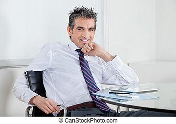 ビジネスマン, 弛緩, オフィス, 幸せ