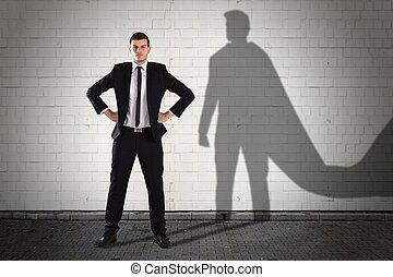 ビジネスマン, 影, 形作られる, の後ろ
