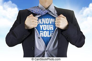 ビジネスマン, 役割, 知りなさい, あなたの, ワイシャツ, 提示, 彼の, 下に, 言葉