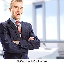 ビジネスマン, 彼の, オフィス, 肖像画
