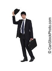 ビジネスマン, 彼の, ボーリング競技者, 傾いている帽子