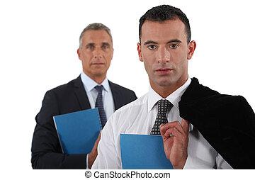 ビジネスマン, 彼の, ポーズを取る, 若い, 上司