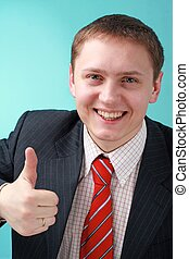 ビジネスマン, 微笑, 「オーケー」