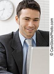 ビジネスマン, 微笑, 若い