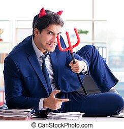 ビジネスマン, 怒る, 悪魔, オフィス