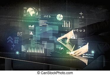 ビジネスマン, 感動的である, 対話型である, 現代, 机, ∥で∥, 技術アイコン
