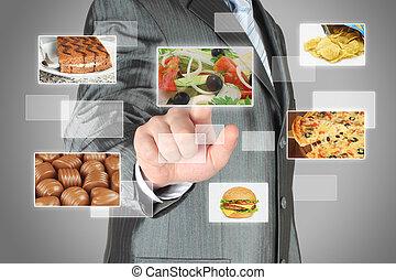 ビジネスマン, 感触, インターフェイス, 事実上, 押し, サラダ, 食品。, スクリーン, 食事, 概念, ボタン