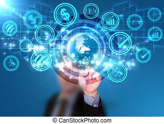 ビジネスマン, 感触, world., 社会, 媒体, 概念