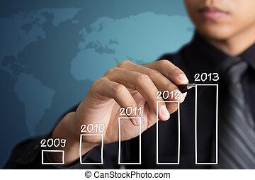 ビジネスマン, 成長, 図画, チャート