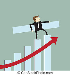 ビジネスマン, 成長, 棒グラフ