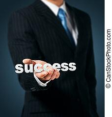 ビジネスマン, 手掛かり, 単語, 成功, 手