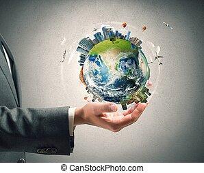 ビジネスマン, 手掛かり, 現代, 世界