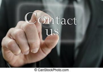 ビジネスマン, 手, アイロンかけ, 私達に連絡しなさい, ボタン, 上に, タッチスクリーン