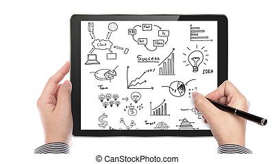 ビジネスマン, 手, グラフ, 図画, タッチスクリーン, タブレット